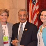 Rep. Bobby Scott with NAPE CEO Mimi Lufkin (L) and NAPE President Elect Terri Boyer